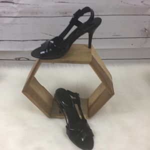 Banana Republic Black Leather Heeled Sandals